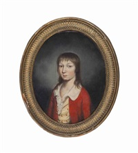 portrait of a boy in a red jacket; companion portrait of a girl (2 works) by continental school (19)