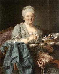 portrait - marquis de la tour en woevre? (+ la marquise de la tour en woevre?, pair) by jean françois gilles colson