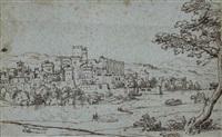 ville avec un château en ruines au bord d'une rivière by giovanni battista