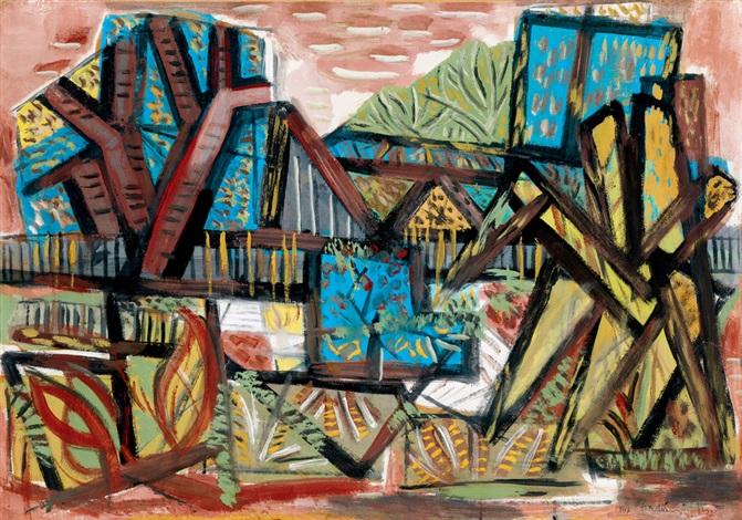 landscape at békásmegyer by jenö gadányi