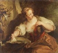 jeune femme à la fontaine by françois lemoyne
