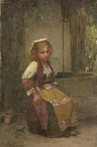 jeune fille assise en extérieur by jean françois portaëls