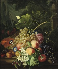 grapes, peaches, a melon and other fruit by cornelis van spaendonck