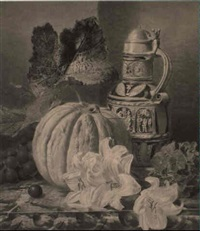 a still life with a jug and a pumpkin, lilies and grapes by valentine bartholomew