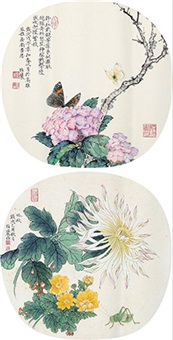 花卉草虫 (2 works) by liu bonong