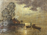 fishermen in moonlight by ernst lorenz