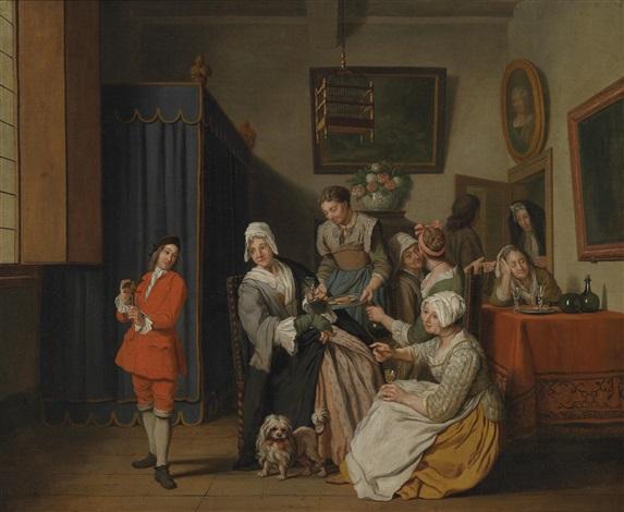 bürgerliches interieur mit zahlreichen frauen und einem jungen mann mit einem vogel by jan josef horemans the younger