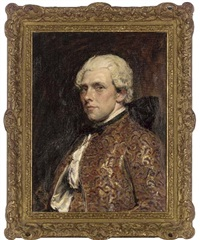 portrait of c. may esq. in an embroidered waistcoat and jacket by john seymour lucas