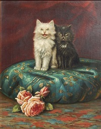 kittens on a pillow by benjamin raborg