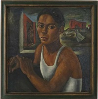 portrait of woman, prostitute and conflict in background by roberto montenegro