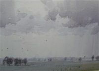 clouds over farm by harold brocklebank herbert