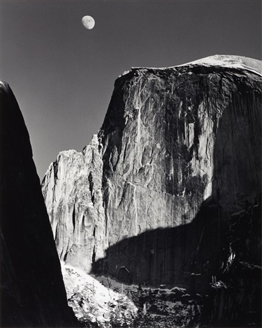 moon and half dome yosemite national park california by ansel adams