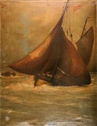 le remorquage et le feu sur le voilier (pair) by ludovic lepic