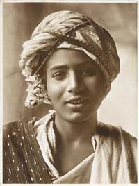 tunesisches mädchen, junger tunesier, gruppenbild (3 works) by lehnert & landrock