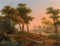 chasseurs sur le bord d'un fleuve by gustave (egidius karel g.) wappers