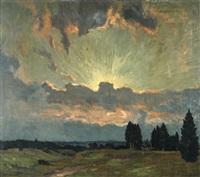 sonnenuntergang, weite wiesenlandschaft im goldenen licht der abendsonne by ernst liebermann