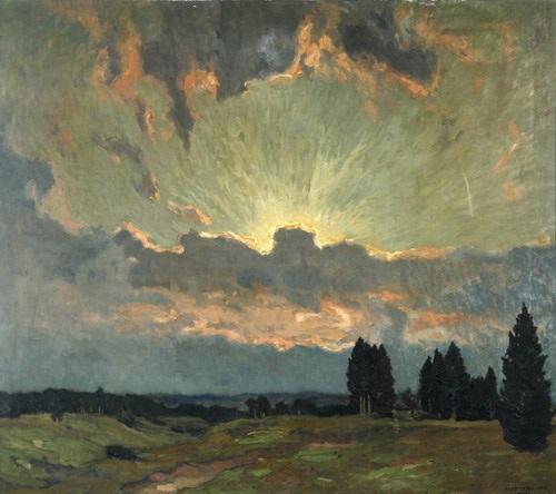 sonnenuntergang weite wiesenlandschaft im goldenen licht der abendsonne by ernst liebermann