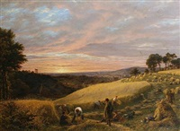 harvesting at sunset by james thomas linnell