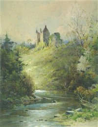 an angler by a castle by murray j. macdonald