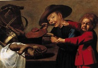 boys quarrelling over a bowl of soup in a kitchen by petrus staverenus