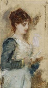 jeune femme lisant une lettre, esquisse by auguste toulmouche