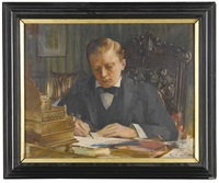 portrait of sir winston churchill as a young man, seated at his desk by edwin arthur ward