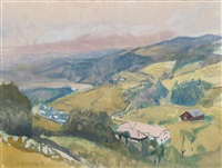 bauernhof in hügeliger landschaft by josef dobrowsky