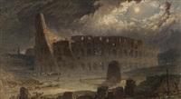 roma, fiaccolata dinnanzi il colosseo in una notte di luna by henry parsons riviere
