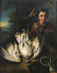 portrait de chasseur avec une outarde by jan weenix