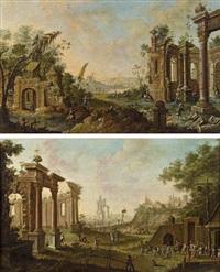 capriccio mit ruinen und staffage (pair) by joseph constantine stadler