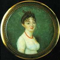 a young lady wearing décolleté white dress, her hair adorned with an arrow by joseph boze