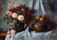 still life with roses and fruits by carl h. fischer