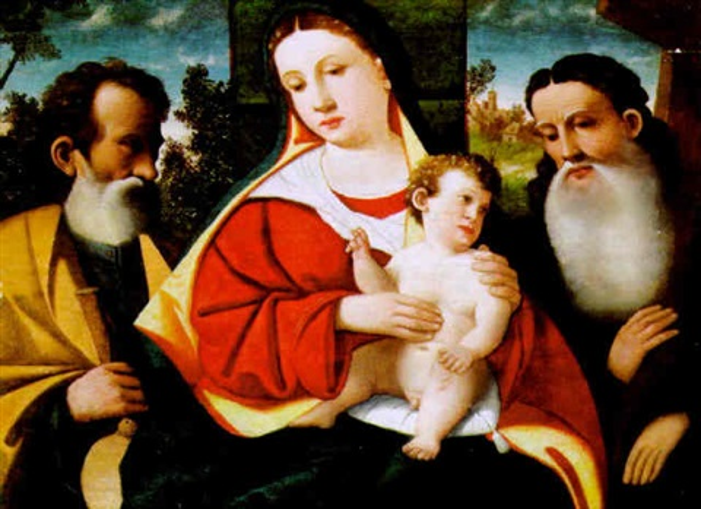 madonna mit dem kind und zwei heiligen by girolamo da santacroce