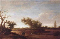 a cattle drover in a wooded dune landscape with church spires and windmill by jacob van mosscher