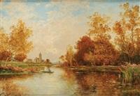 pêcheur en automne, en fond une église by albert gabriel rigolot