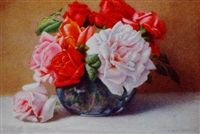 still life of roses in a vase by harry foster newey