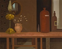 still life with lamp by arthur armstrong