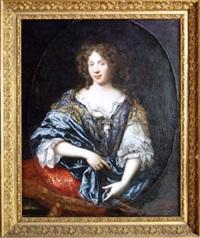 portrait d'une dame de qualité en robe bleue assise dans un fauteuil doré garni de soierie rouge by pierre mignard the younger