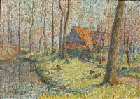 paysage pointilliste by emile ancelet