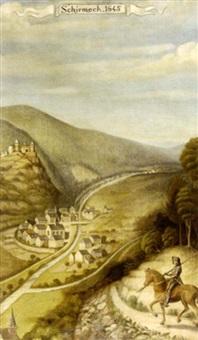 vue de schirmeck(?) (+ another; pair) by french school-alsatian (20)