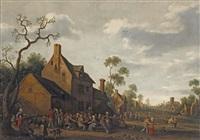 peasants making merry outside an inn by joost cornelisz droochsloot