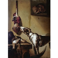 a kitchen interior with a dog tasting meat hanging from the wall, dead partridges on a table, a cat in the window by petrus schotanus