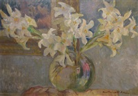 vase with white lilies by vera veslovschi nitescu
