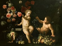 due putti con rose, garofani e altri fiori e frutti en plein air by maximilian pfeiler