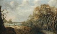 paysage de campagne avec des villageois partant à la pêche by willem van den bundel