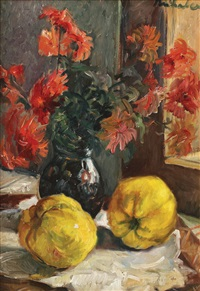 still life with quinces and chrysanthemums by constantin mihalcea braga