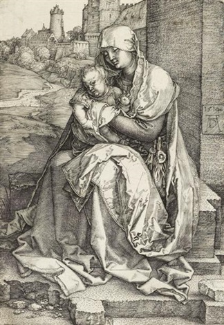 the virgin and child seated by the wall by albrecht dürer