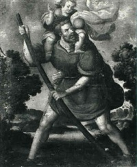 st. christopher and the christ child by melchor perez de holguin