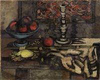 still life with fruit and candlestick by jankel adler