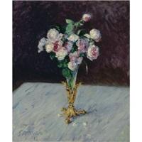 bouquet de roses dans un vase de cristal by gustave caillebotte